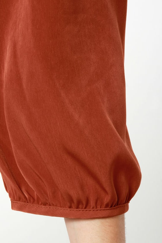 C'mon Get Happy One Shoulder Burnt Orange Dress at Lulus.com!