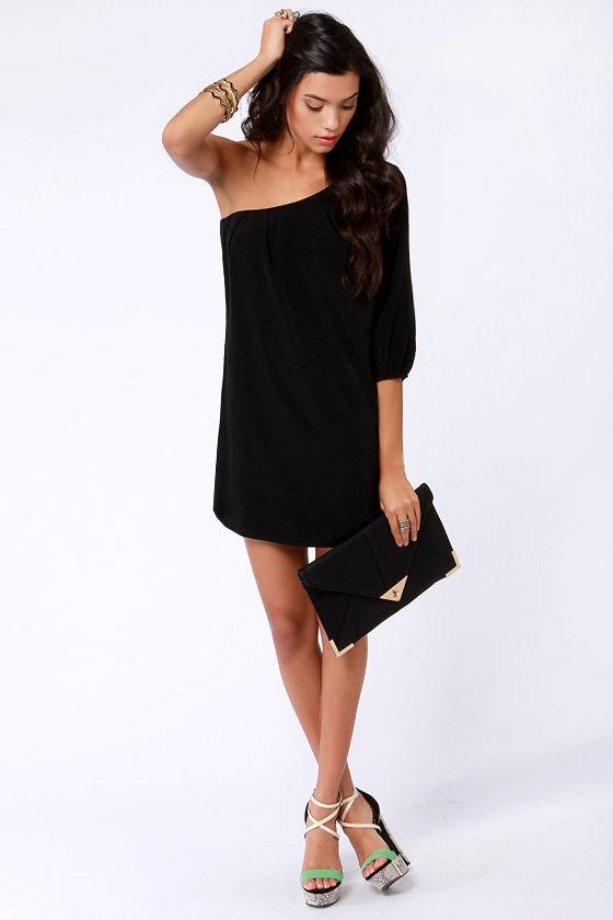 Cute One Shoulder Dress - Little Black Dress - Shift Dress - $38.00