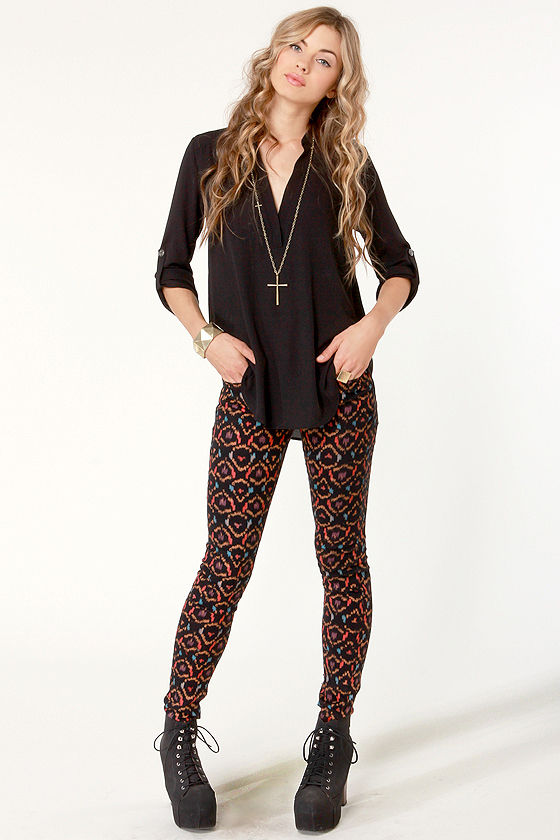 717246f7bfe Hurley 81 Skinny Leggings - Ikat Print Jeans - Skinny Jeans - Jeggings -   59.50
