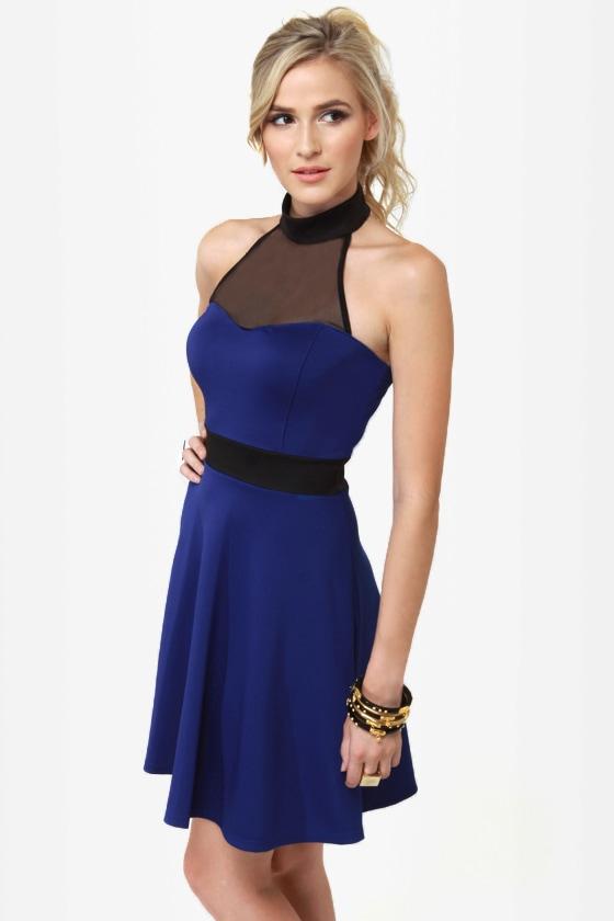 Complementary Collars Blue Halter Dress