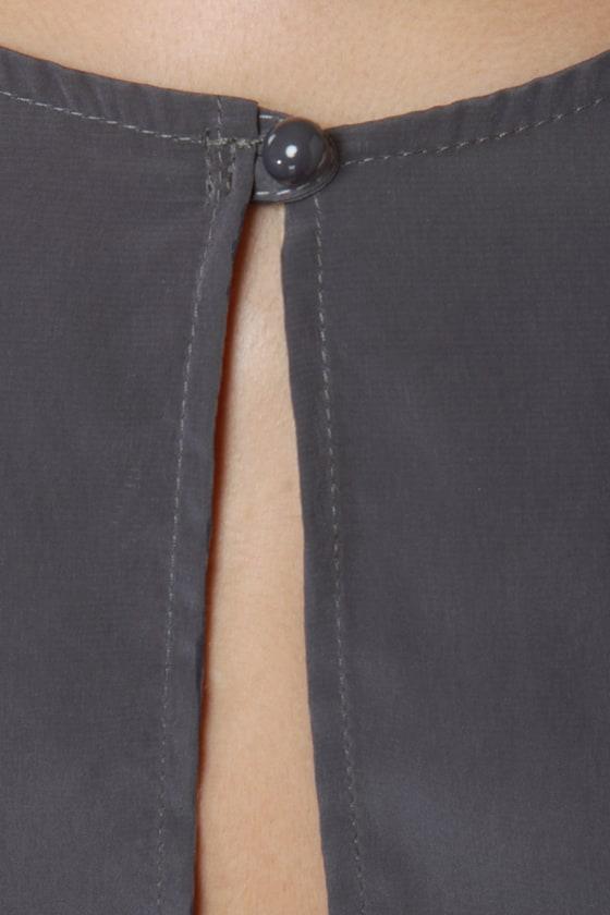 Perfect Pitch Grey High-Low Wrap Dress