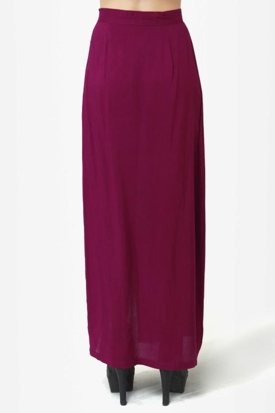 She\\\'s Got Legs Burgundy Maxi Skirt