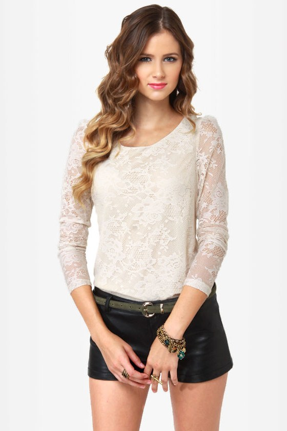 Oh, the Laces You\\\'ll Go Cream Lace Top
