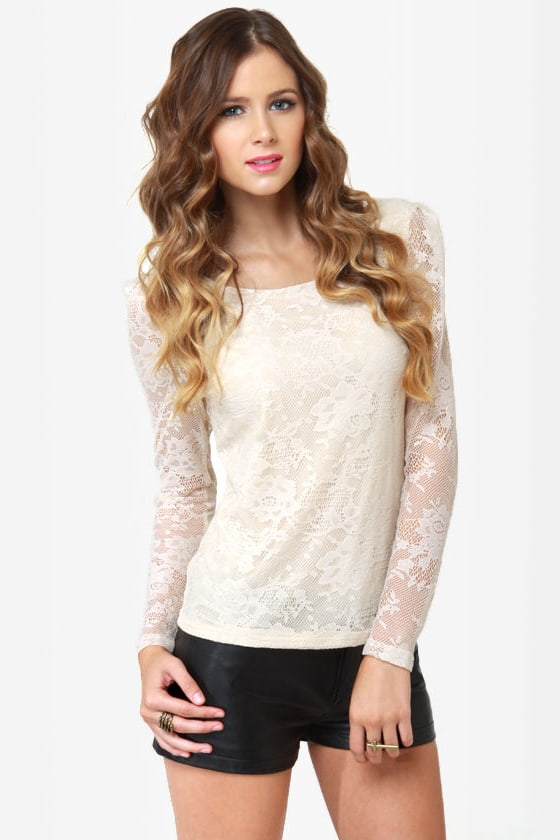 Oh, the Laces You'll Go Cream Lace Top at Lulus.com!