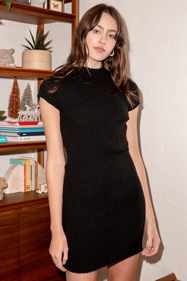 Flirting Sweetly Black Ribbed Mock Neck Bodycon Mini Dress
