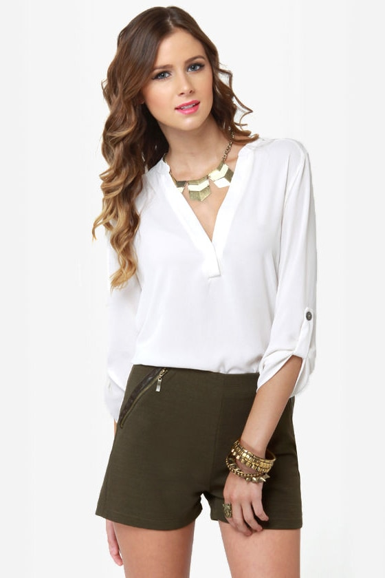 Hip to the Zip Olive Green Shorts at Lulus.com!