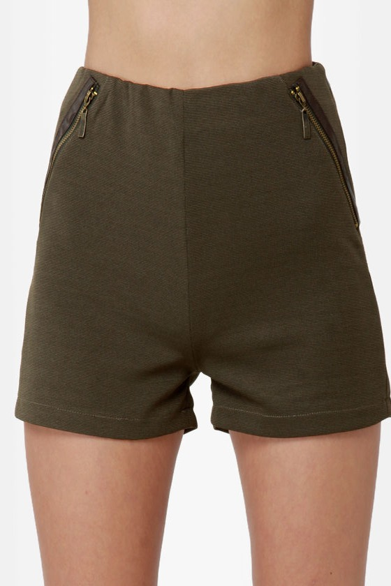 Hip to the Zip Olive Green Shorts