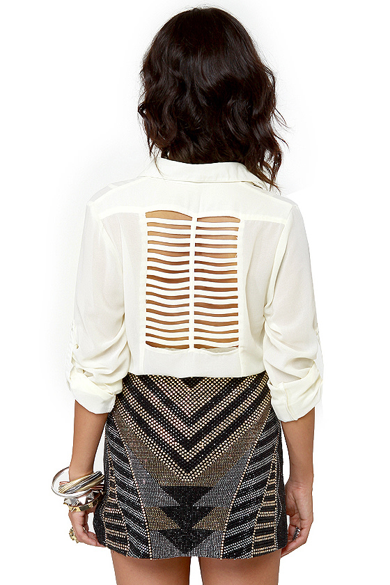Rein-Vent Yourself Cream Cutout Top at Lulus.com!