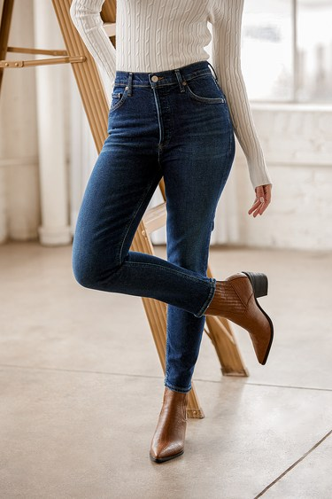 AGoldE Nico High Rise Dark Wash Skinny Jeans