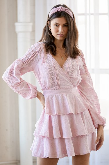 Be My Forever Love Light Pink Lace Embroidered Tiered Mini Dress