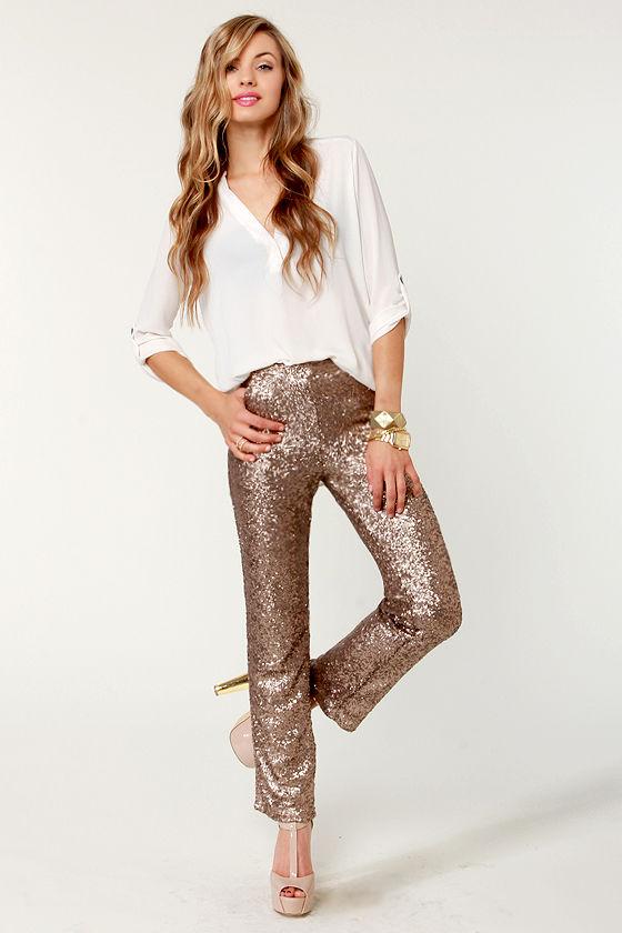 Glittering Bronze Pants Sequin Pants Brown Pants 56 00
