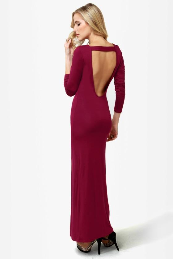Sexy Maxi Dress - Burgundy Dress - Backless Dress - Long Sleeve ...