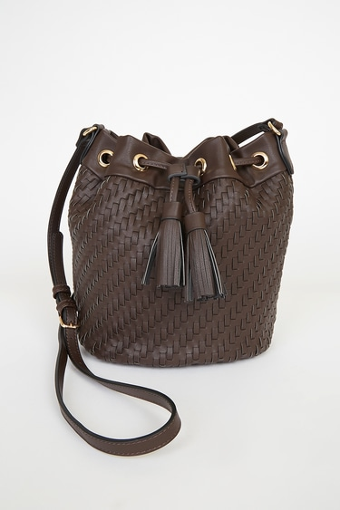 Day to Day Style Brown Woven Bucket Bag