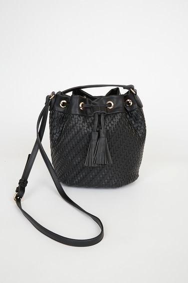 Day to Day Style Black Woven Bucket Bag