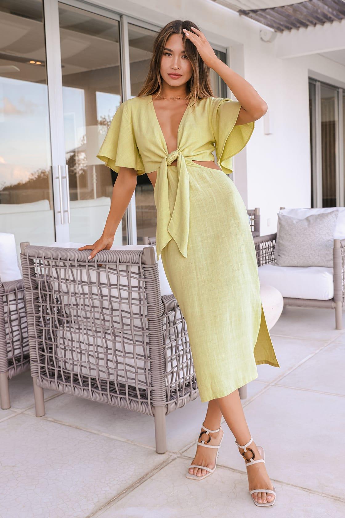 Summer Journey Light Green Tie-Front Cutout Midi Dress