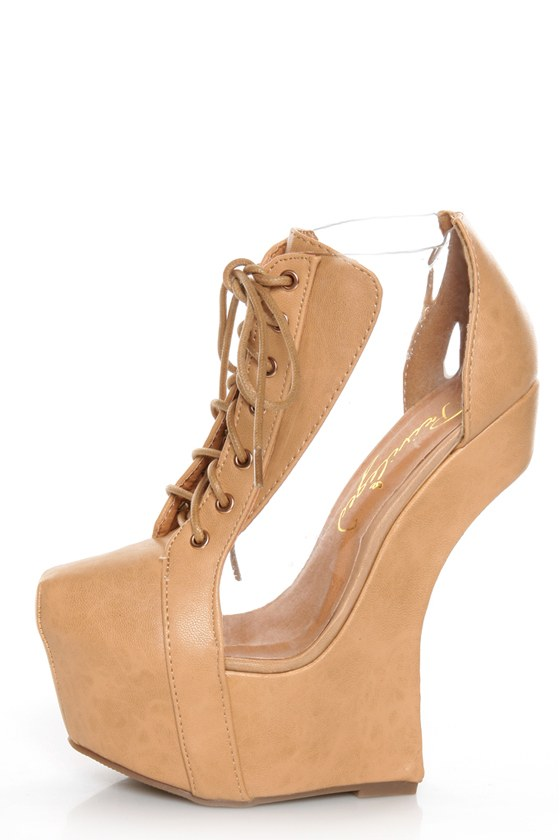 Privileged Jovana Tan Cutout Lace-Up Heelless Platforms