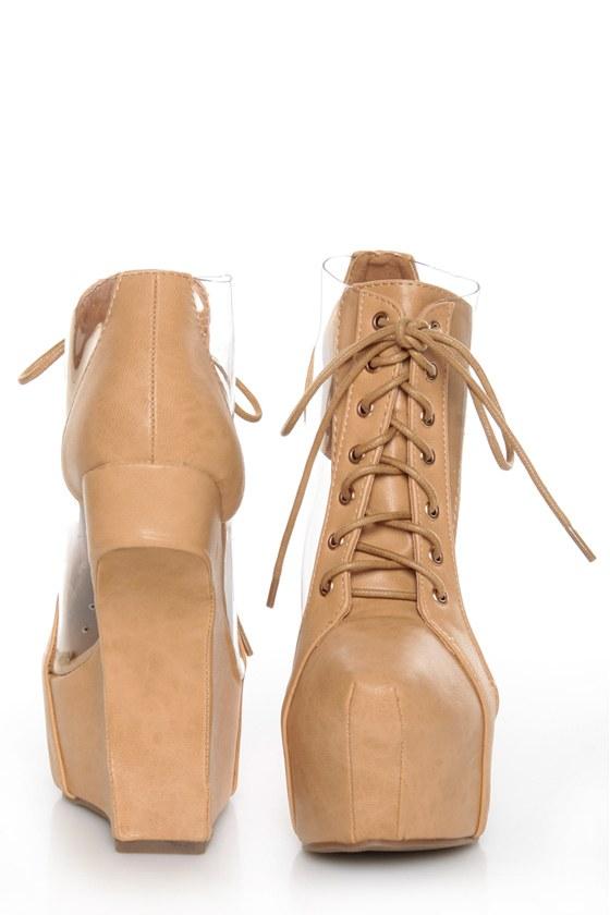 Privileged Jovana Tan Cutout Lace-Up Heelless Platforms
