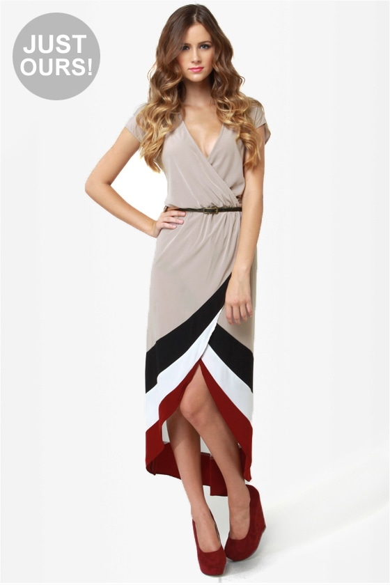Perfect Pitch Taupe High-Low Wrap Dress