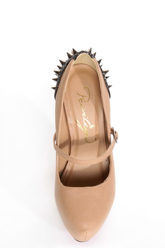 Privileged Elly Tan Spiked and Sparkly Platform Heels
