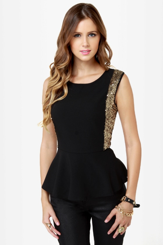 On the Bright Side Black Sequin Peplum Top at Lulus.com!