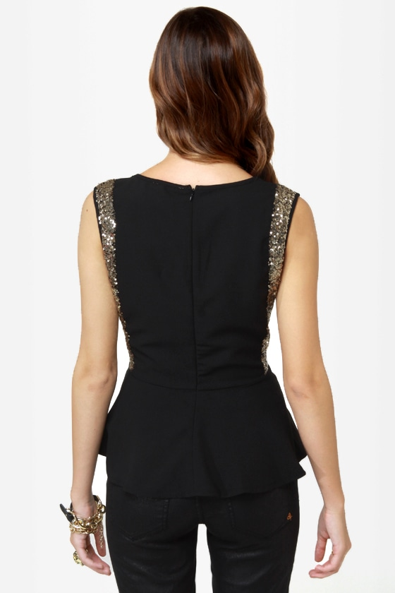 On the Bright Side Black Sequin Peplum Top