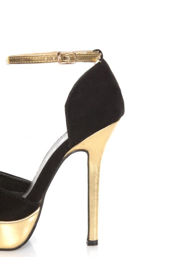 Merci 2 Black and Gold D'Orsay Platform Heels - $39.00