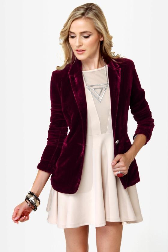 Cute Burgundy Blazer - Velvet Blazer - $56.00