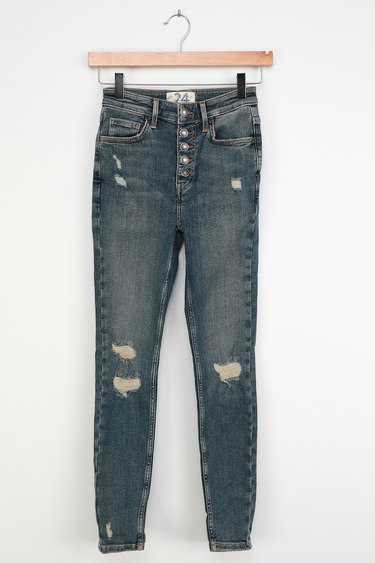 Free People Sabrina Medium Wash High Rise Distressed Super Skinny Jeans