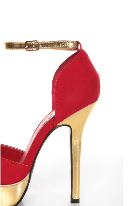 Merci 2 Red and Gold D'Orsay Platform Heels at Lulus.com!