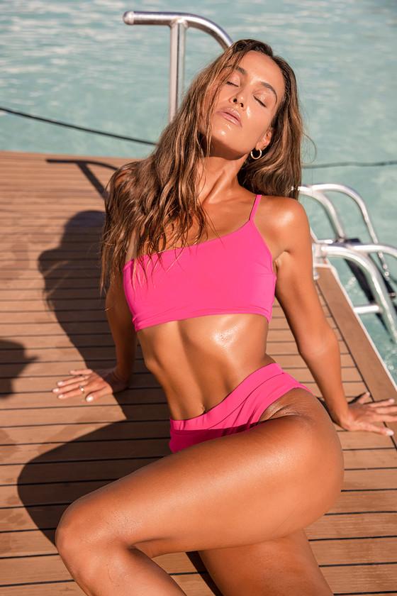 Lulus | Light It Up Hot Pink One Shoulder Bikini Top | Size Large