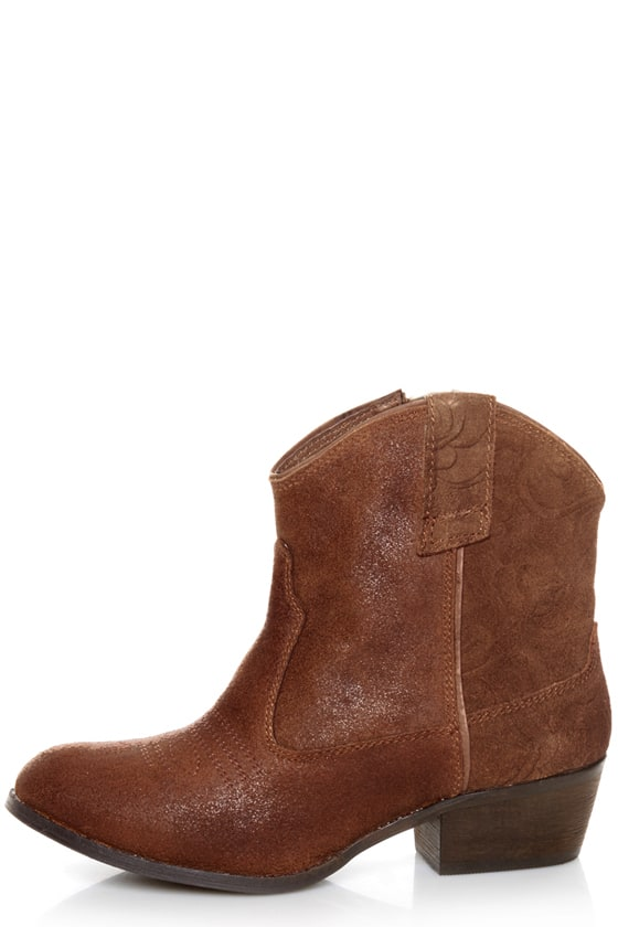 Very Volatile Zambra Brown Rose Embossed Ankle Boots - $107.00