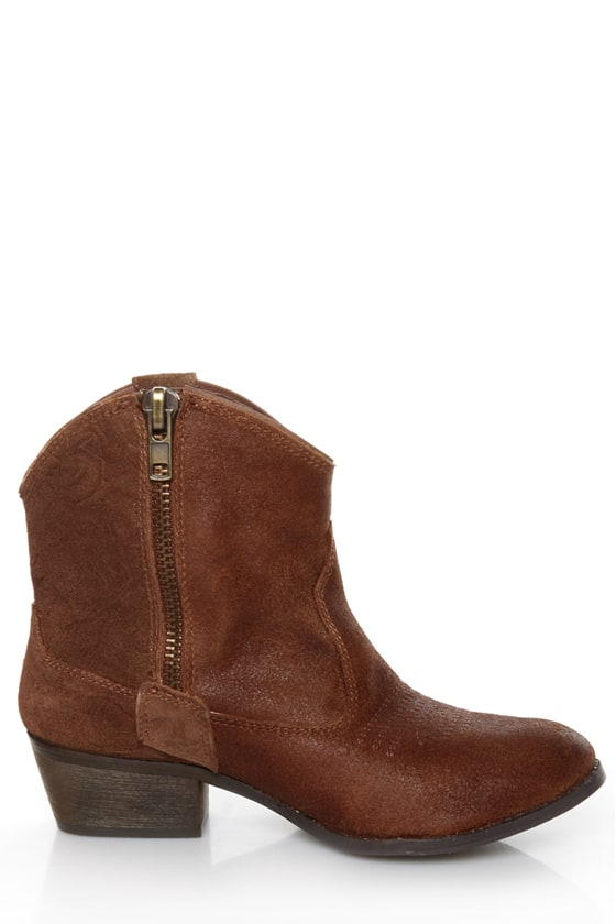 Very Volatile Zambra Brown Rose Embossed Ankle Boots at Lulus.com!