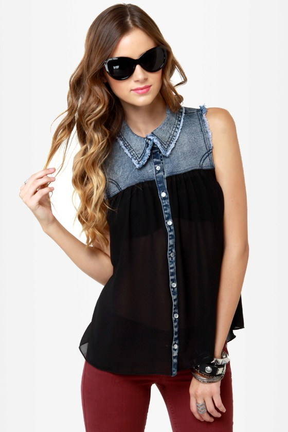 Sweet Caroline Denim and Black Button-Up Top