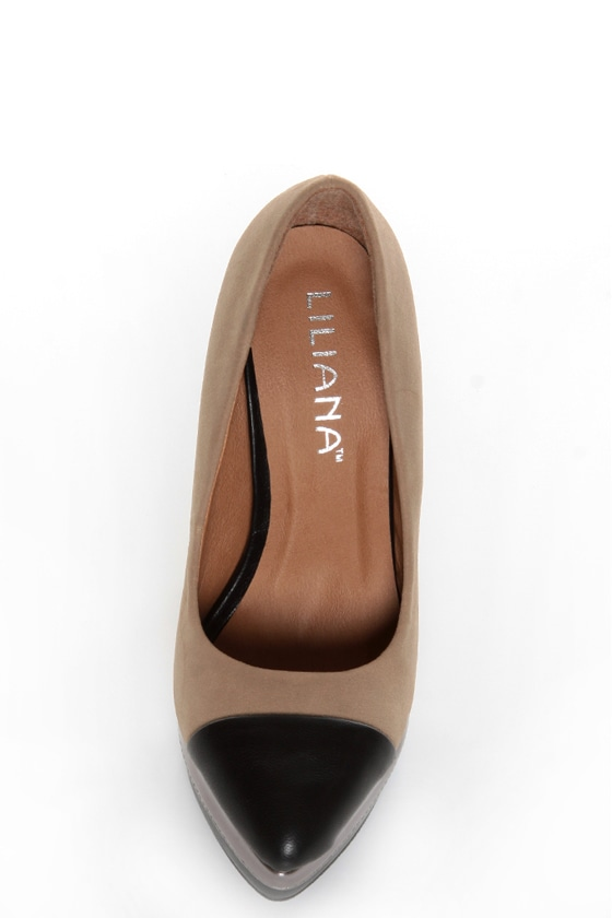 Zaria 1 Taupe and Black Cap-Toe Pointed Pumps at Lulus.com!