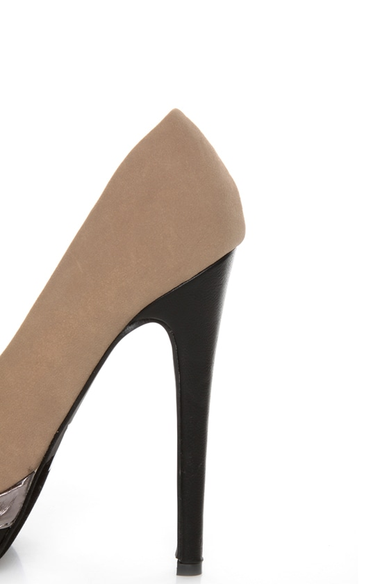 Zaria 1 Taupe and Black Cap-Toe Pointed Pumps