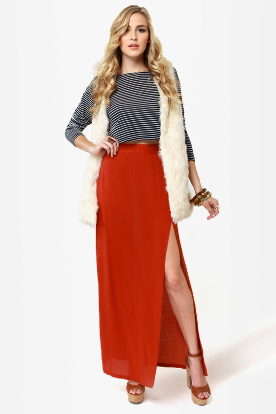 aa885c19ec Sexy Orange Skirt - Maxi Skirt - Slit Skirt - $33.00
