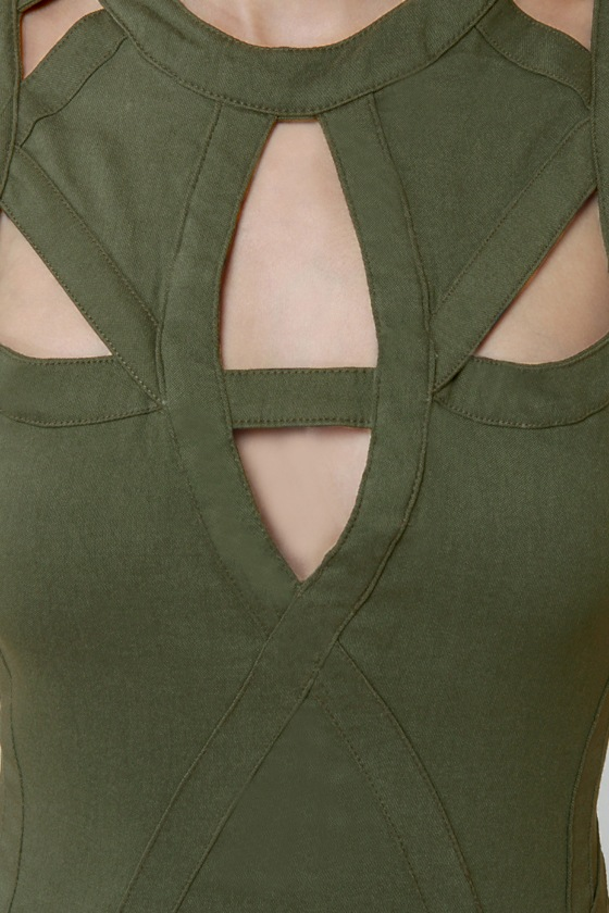 Peek of Destiny Cutout Olive Green Dress