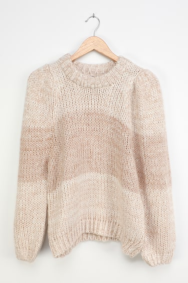 Feel The Warmth Beige Knit Color Block Balloon Sleeve Sweater