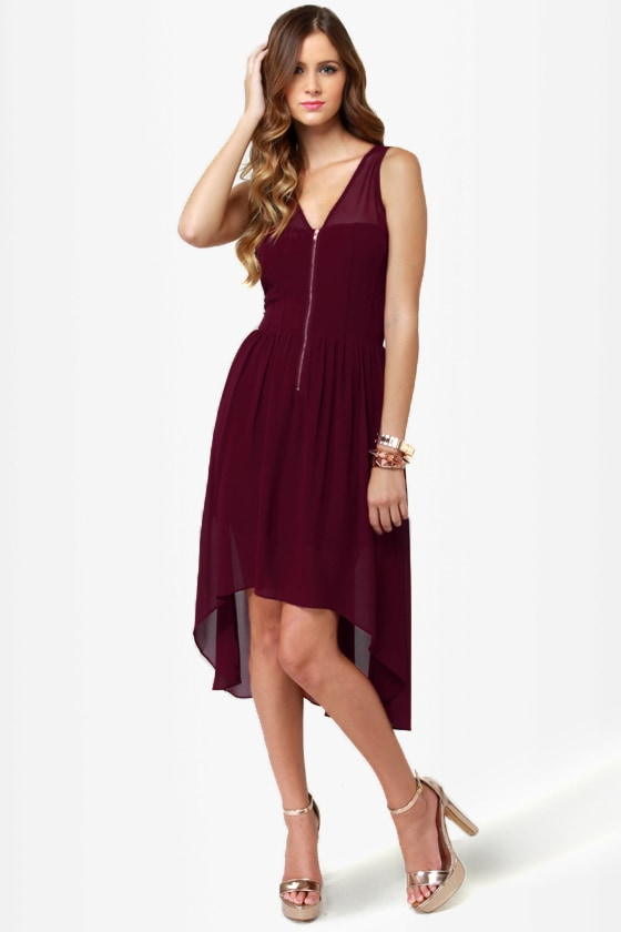 Nettin\\\\\\\\\\\\\\\' to it Burgundy High-Low Dress