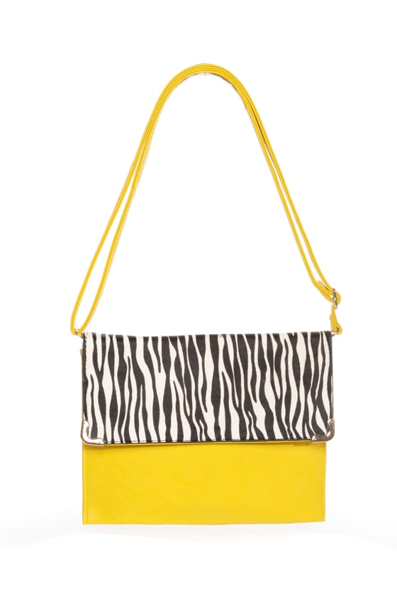 Safari Chic Yellow Animal Print Clutch