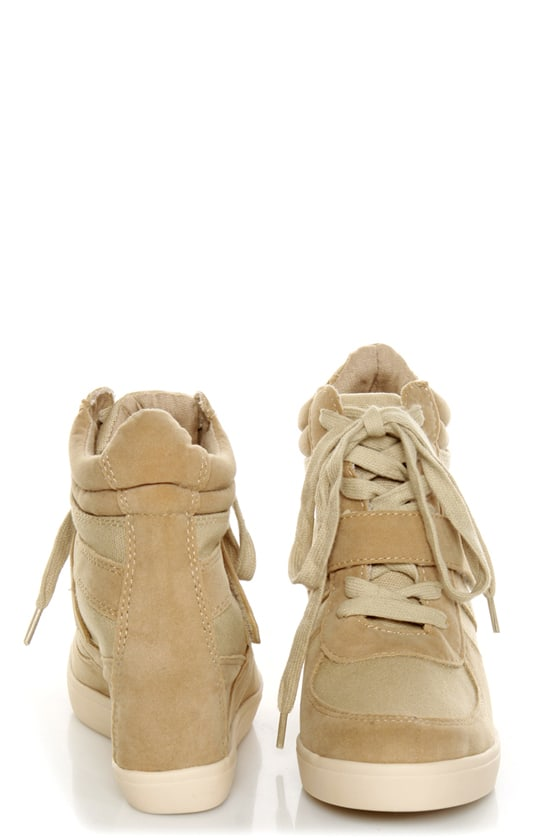 Soda Bright Light Tan and Taupe Lace-Up Wedge Sneakers at Lulus.com!