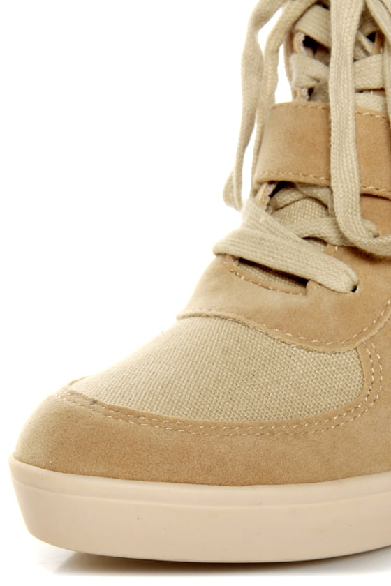 Soda Bright Light Tan and Taupe Velcro Wedge Sneakers