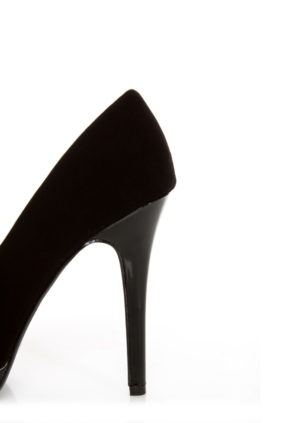My Delicious Rigby Black Peep Toe Platform Pumps at Lulus.com!