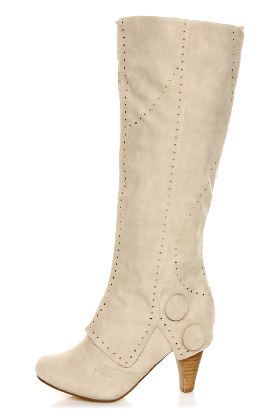 Not Rated Unofficial Cream Perforated Foldover Knee High Boots