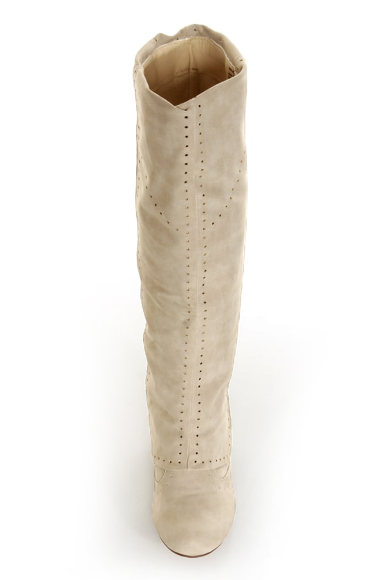 Not Rated Unofficial Cream Perforated Foldover Knee High Boots at Lulus.com!