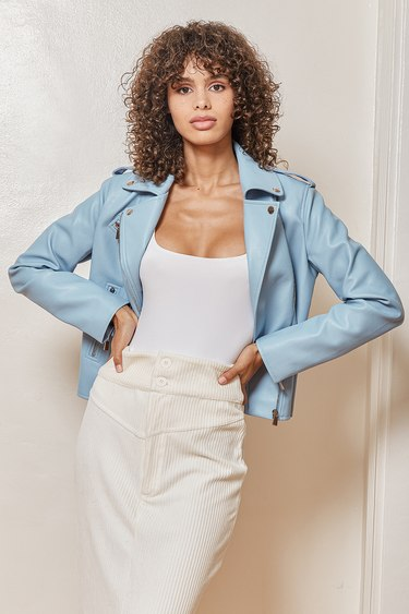 Out for the Night Blue Vegan Leather Moto Jacket