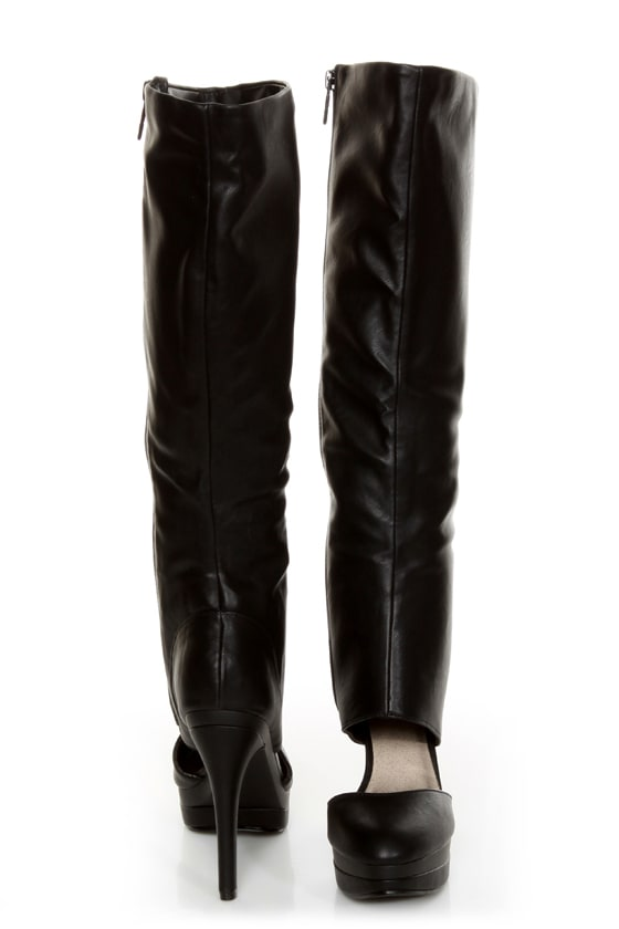 Michael Antonio Bowler Black Cutout Knee High Platform Boots