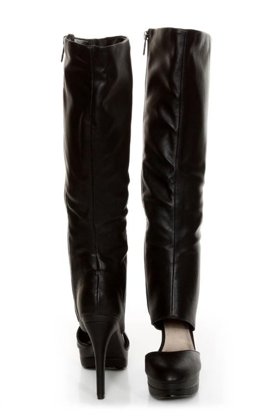 Michael Antonio Bowler Black Cutout Knee High Platform Boots