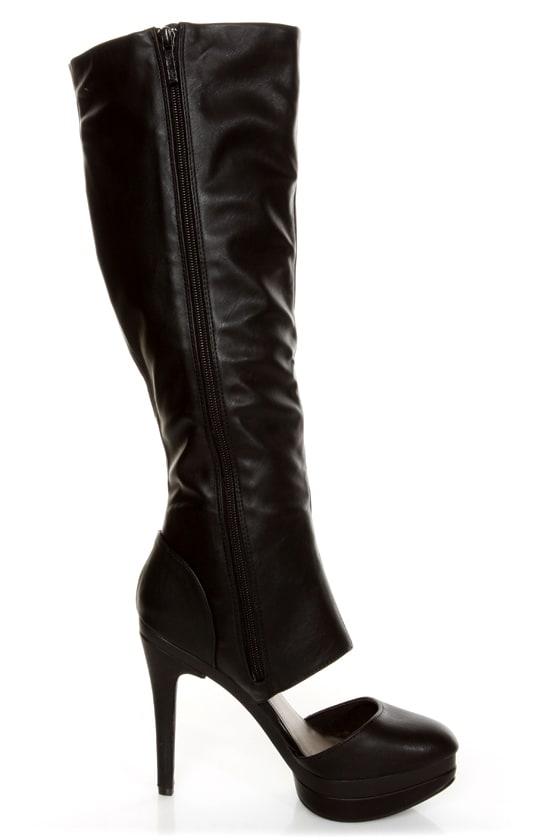 Michael Antonio Bowler Black Cutout Knee High Platform Boots at Lulus.com!