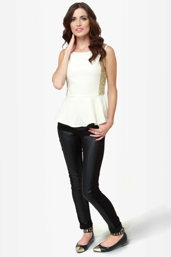On the Bright Side Ivory Sequin Peplum Top